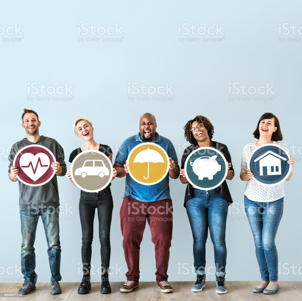 Diverse people with insurance protection plan stock photo