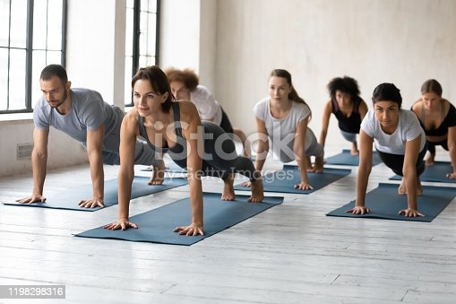 944619806 istock photo Diverse people with trainer practicing yoga, doing Plank exercise 1198298316