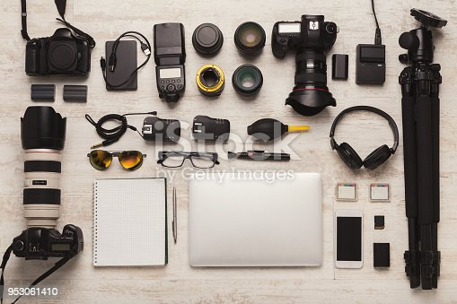 istock Diverse personal equipment for photographer 953061410