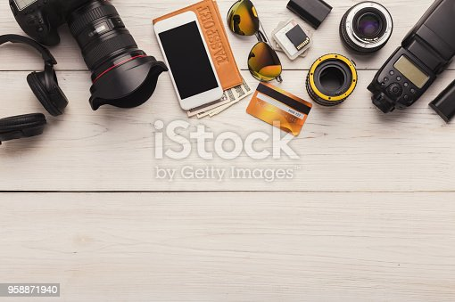 istock Diverse personal equipment for photographer 958871940