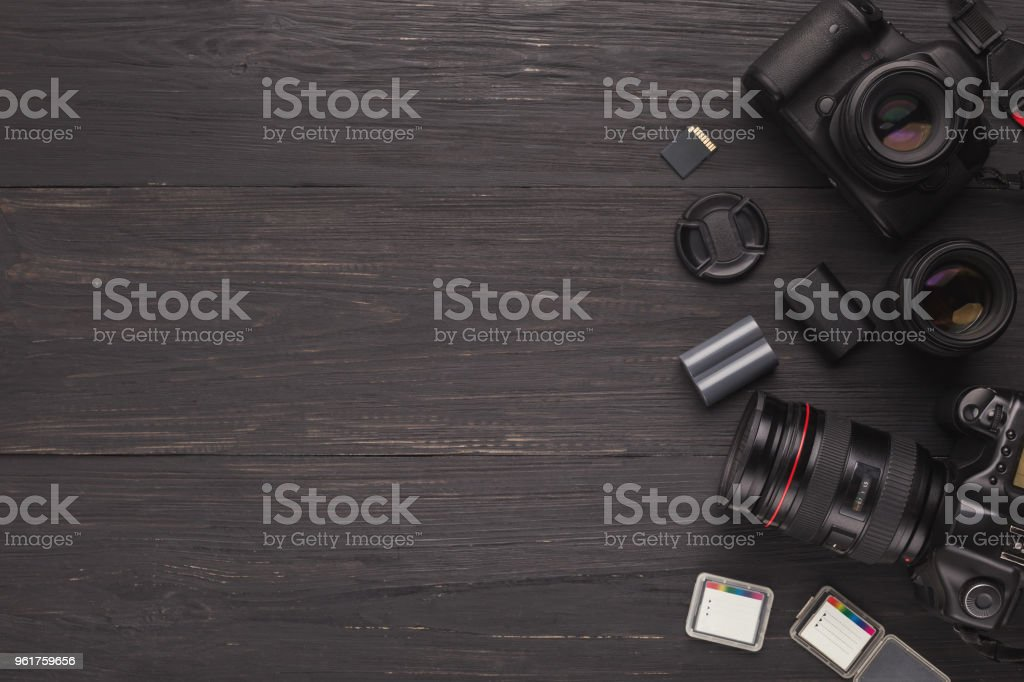 Diverse personal equipment for photographer stock photo