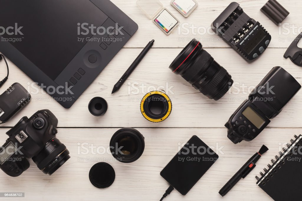 Diverse personal equipment for photographer royalty-free stock photo