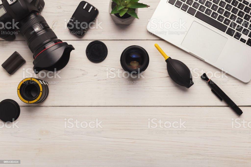 Diverse personal equipment for photographer zbiór zdjęć royalty-free