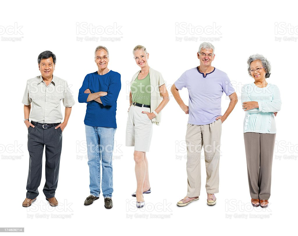 A diverse portrait of a group of seniors royalty-free stock photo