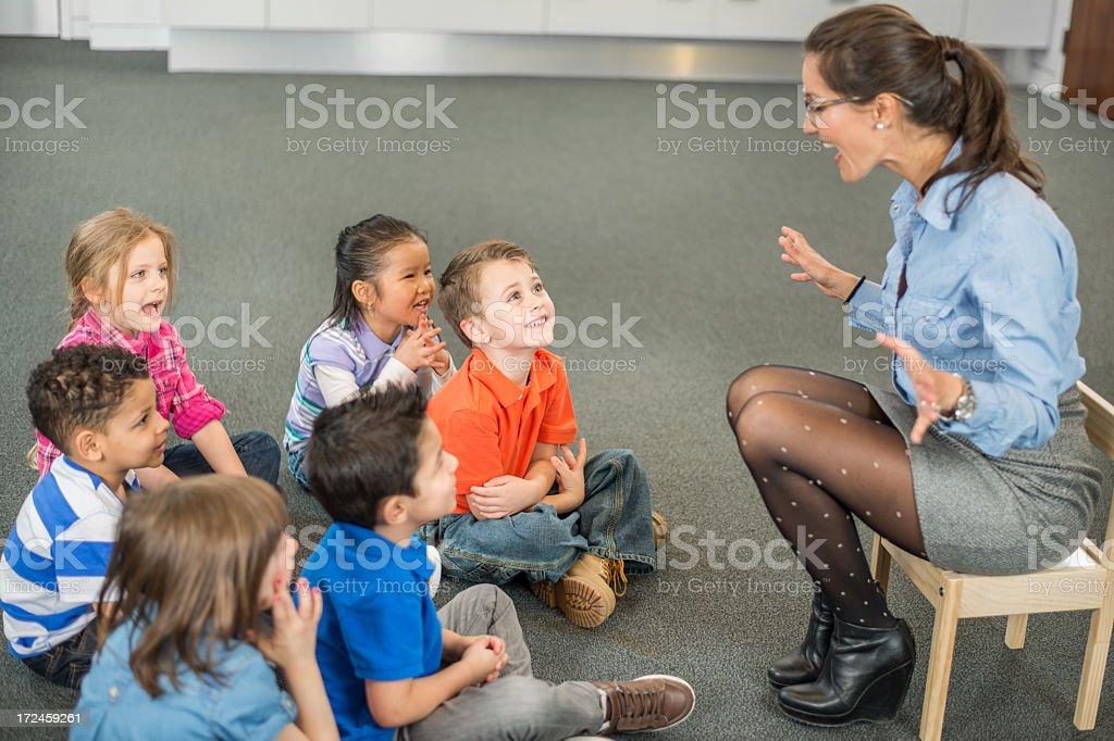Diverse Preschool Class royalty-free stock photo