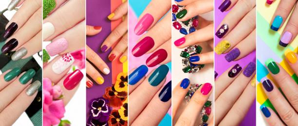 den unterschiedlichsten nageldesign. volltonfarbe maniküre mit helle nagellacke. - nageldesign trend stock-fotos und bilder
