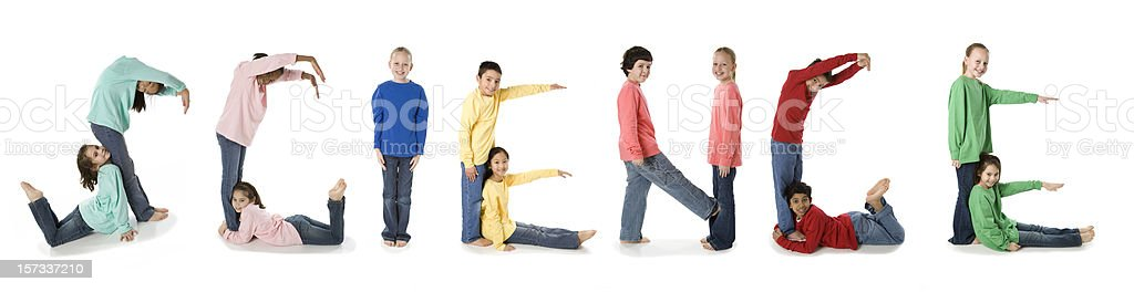 Diverse School Children Spell the Subject Science royalty-free stock photo
