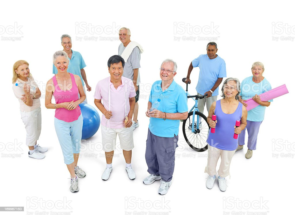 Diverse Senior fitness group royalty-free stock photo