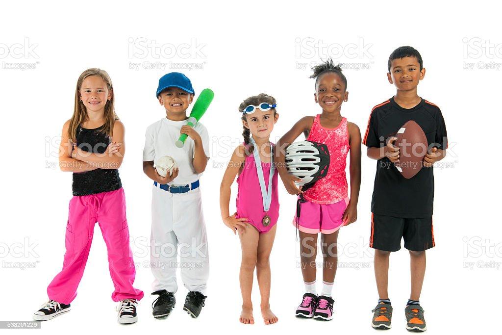 Diverse sport kids stock photo