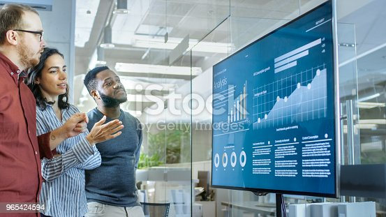 649403294 istock photo Diverse Team of Young People in Conference Room Have Discussion about Statistics and Graphs Shown on a Presentation TV. 965424594