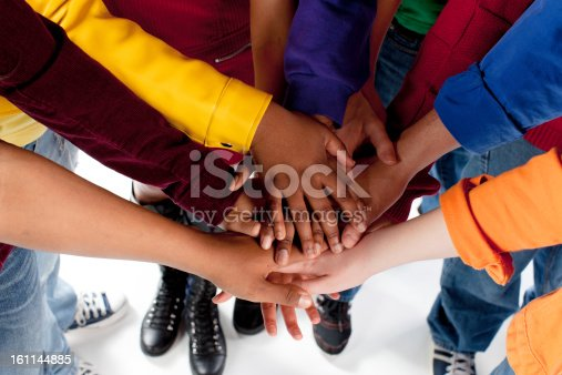 istock Diverse Teenagers: Multi-Racial Group Hands Together Team Colorful 161144885