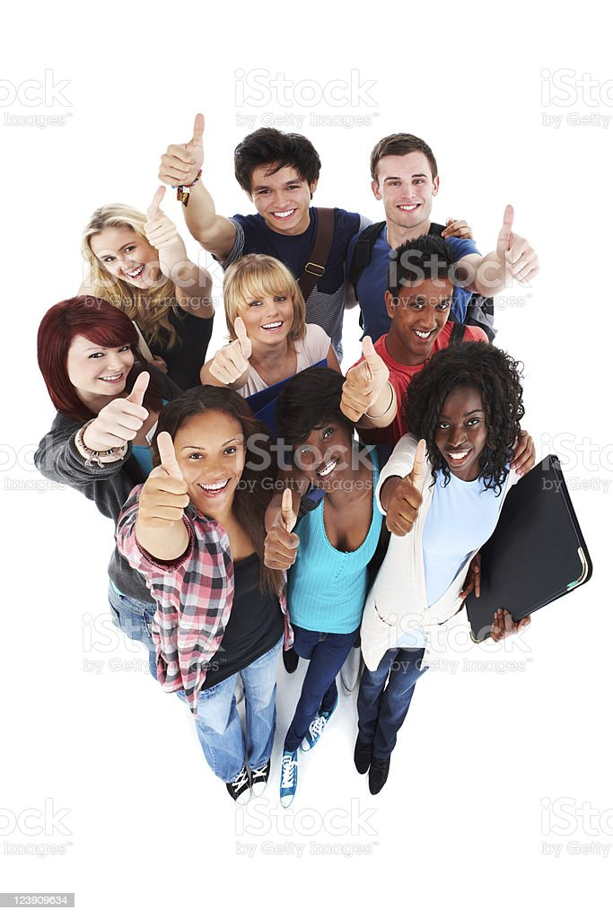 Diverse Teens Giving Thumbs Up - Isolated royalty-free stock photo