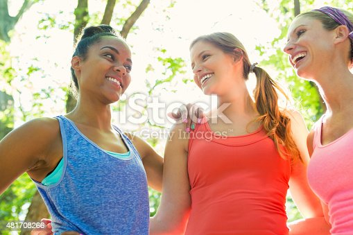 700702502istockphoto Diverse women exercising together in park on sunny day 481708266