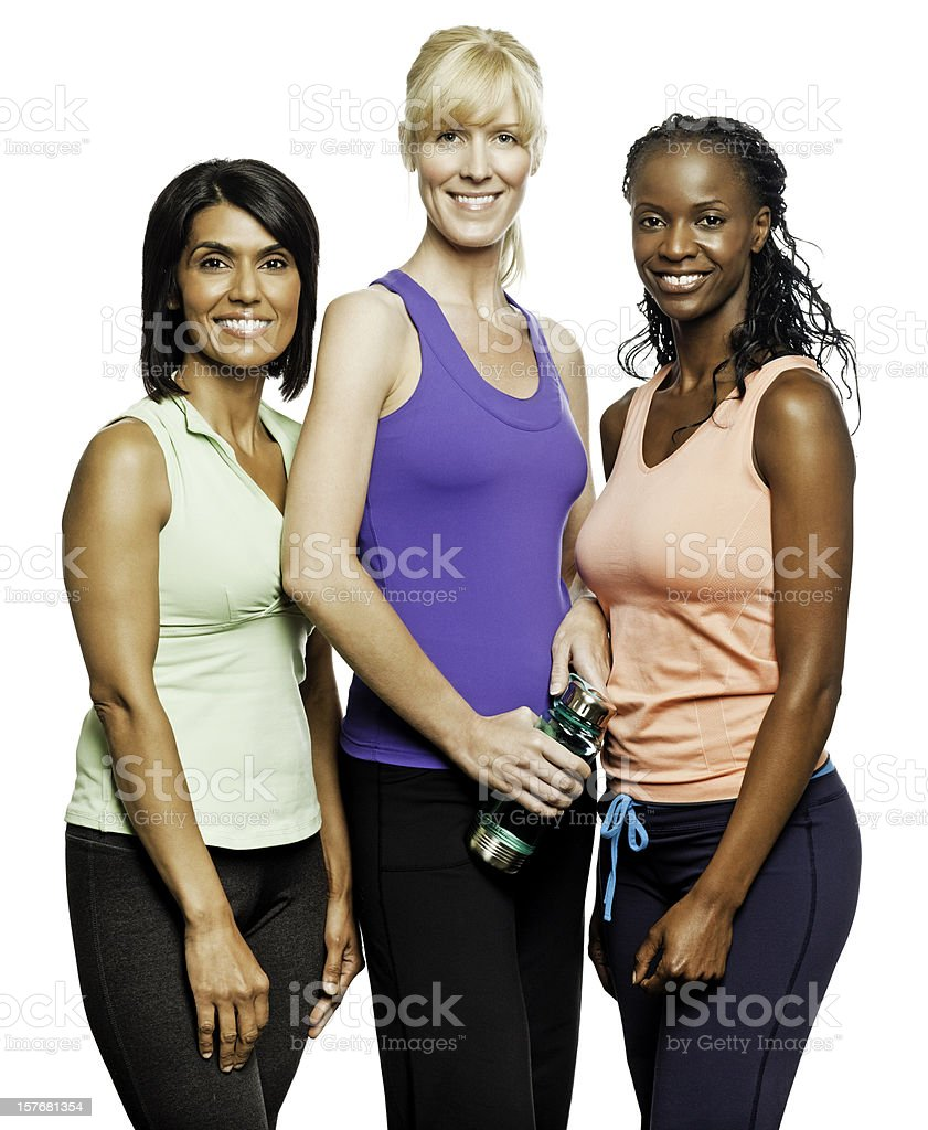 Diverse Women in Workout Clothing - Isolated stock photo
