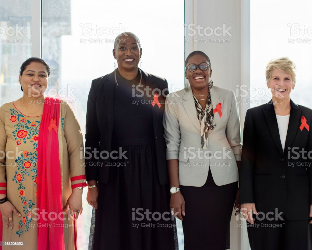 Diverse Women Together Partnership Ribbon stock photo