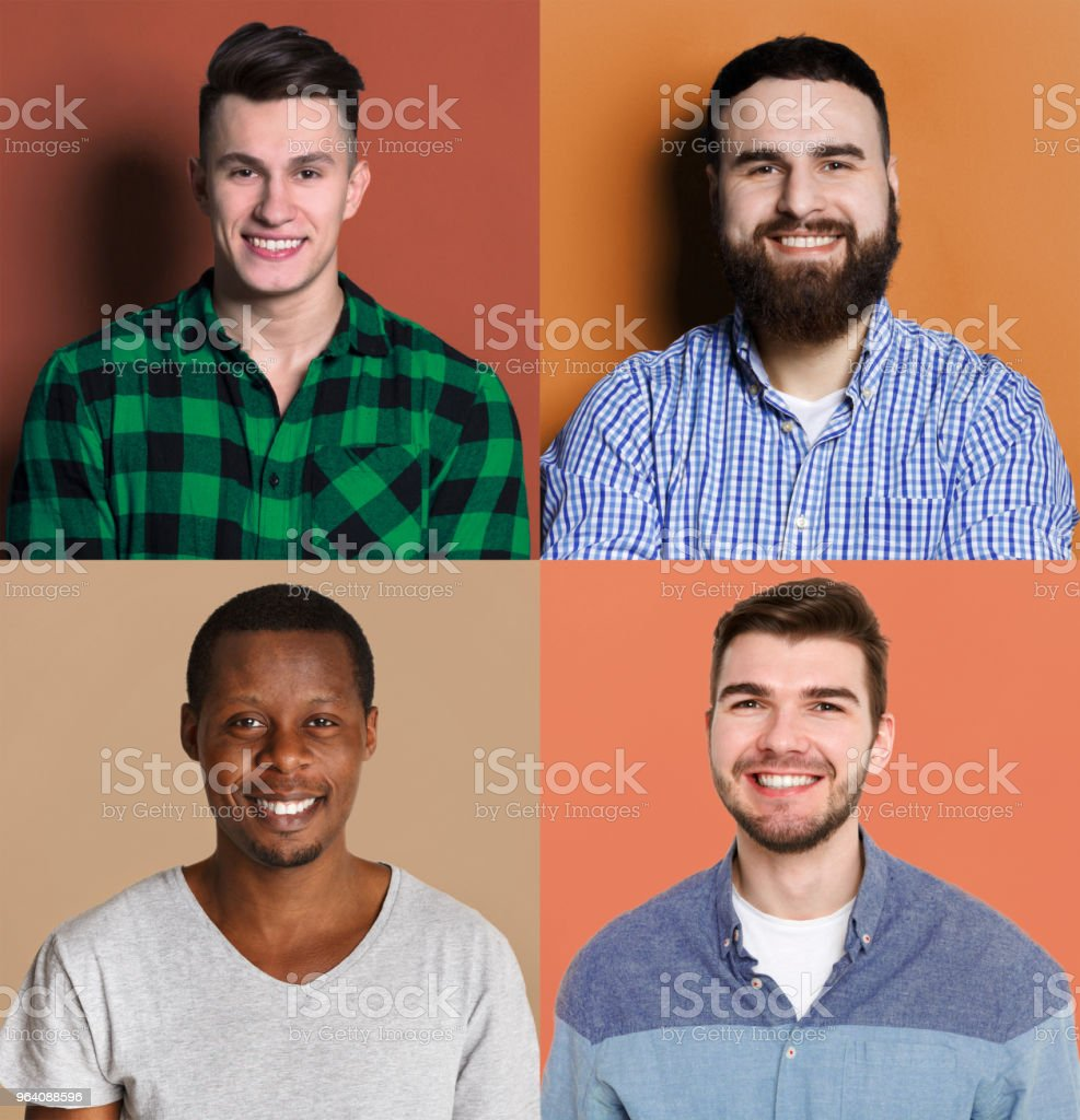 Diverse young men positive emotions set - Royalty-free Adult Stock Photo