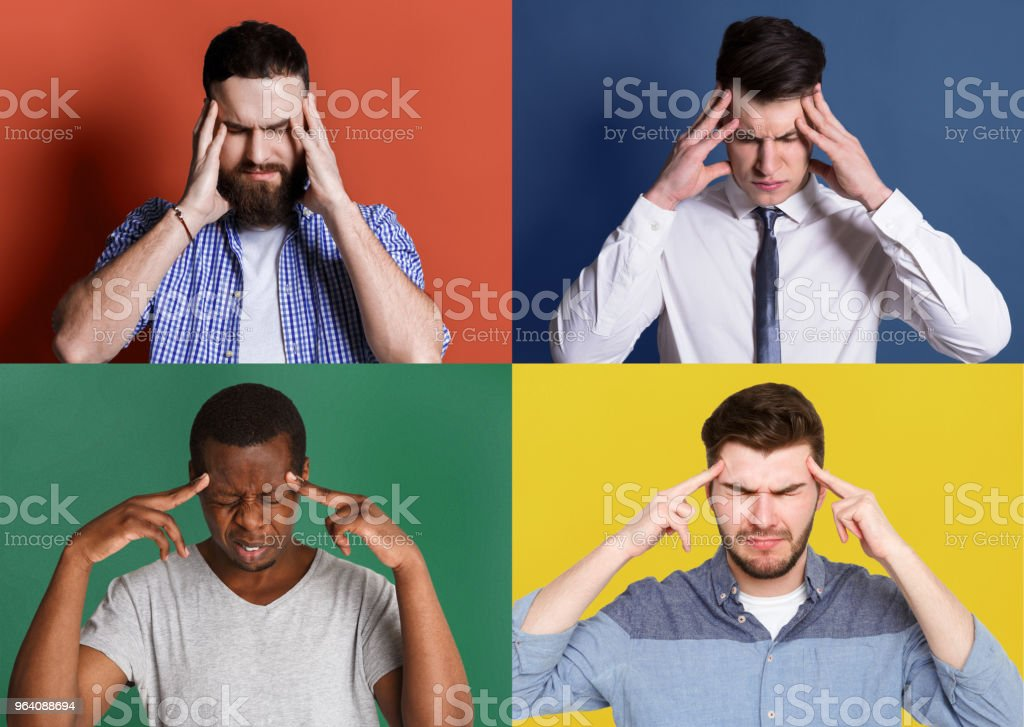 Diverse young men thinking about something - Royalty-free Adult Stock Photo