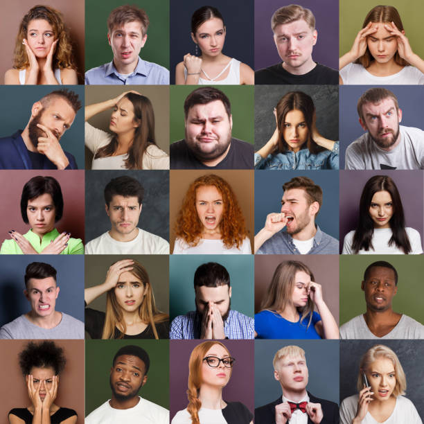 Diverse young people negative emotions set stock photo