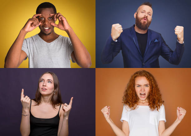 Diverse young people positive and negative emotions set stock photo