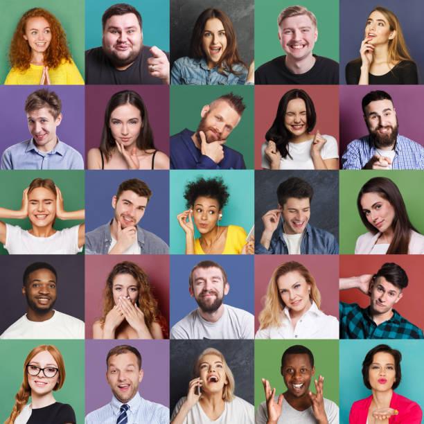 diverse junge menschen positive und negative emotionen satz - gestikulieren stock-fotos und bilder