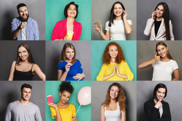 Diverse young people positive emotions set stock photo