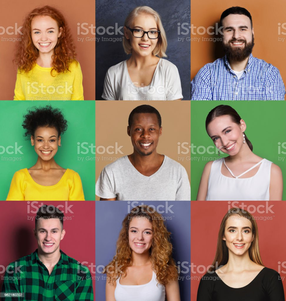 Diverse young people positive emotions set foto stock royalty-free