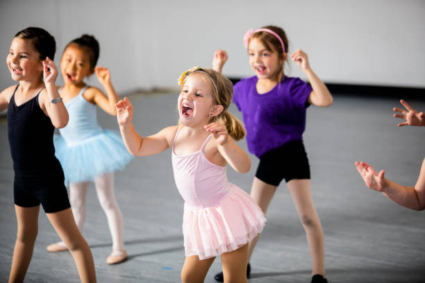 diverse young students in dance class - dance class stock photos and pictures
