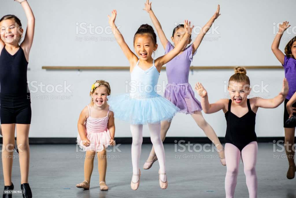 Diverse Young Students in Dance Class stock photo