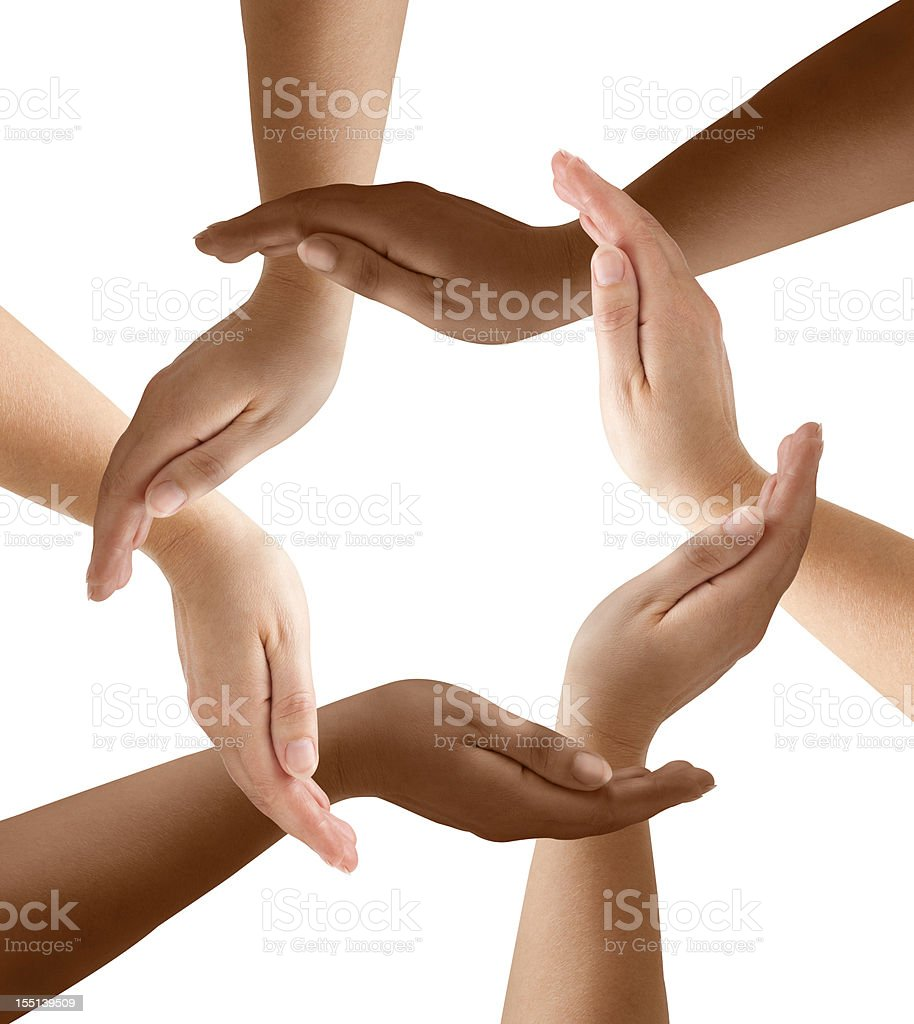 Diversification of Hands in Community stock photo