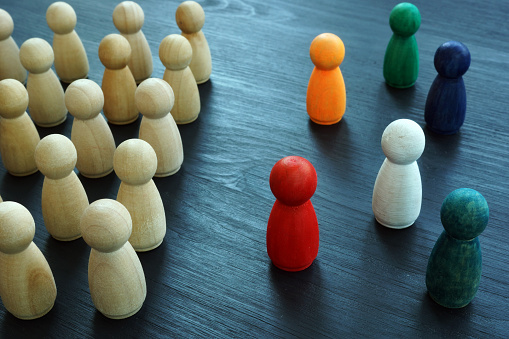 Diversity And Inclusion Concept Wooden And Colored Figurines Stock Photo - Download Image Now