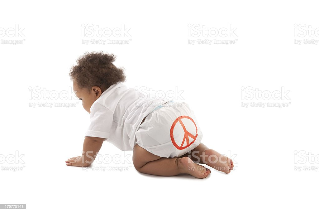 Diversity: Black Toddler Boy Crawling Peace Sign on Diaper royalty-free stock photo