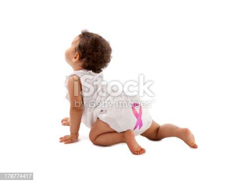 istock Diversity: Breast Cancer Awareness Ribbon on Toddler Girl's Diaper 176774417