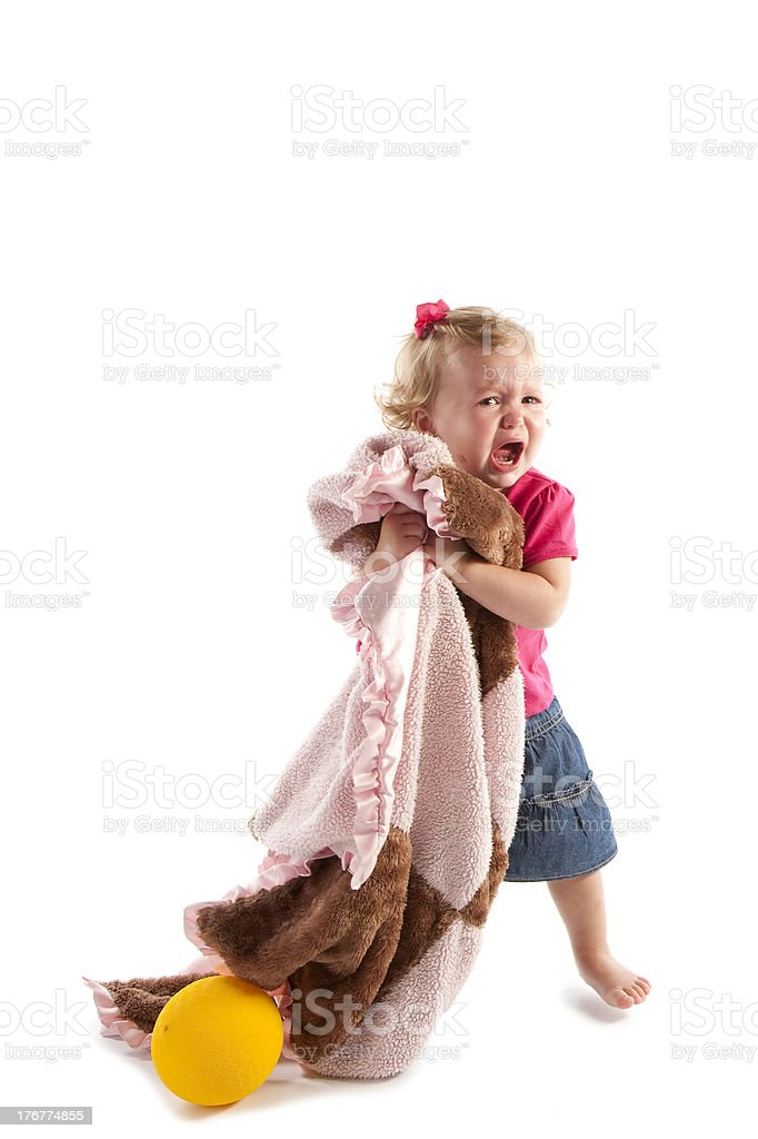 Diversity: Caucasian Toddler Holds Security Blanket and Cries royalty-free stock photo