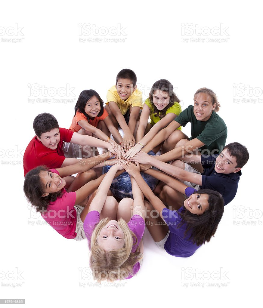 Diversity: Children of Different Ethnicities with Hands Together Around Globe royalty-free stock photo