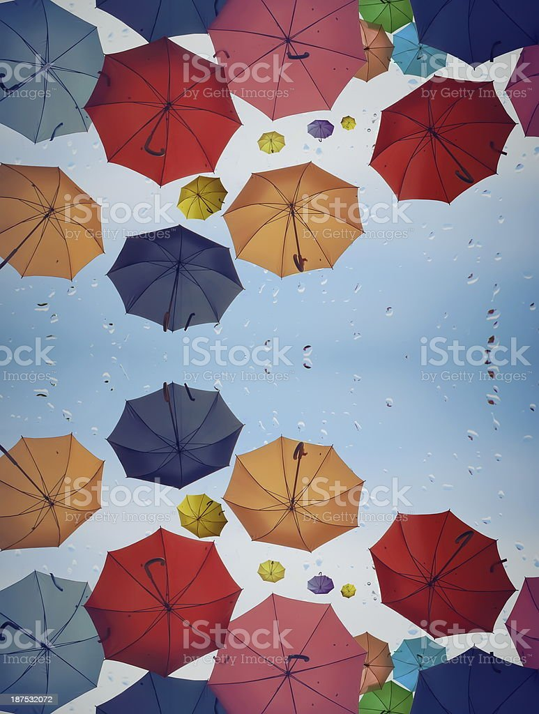 Diversity concept with multicolored umbrellas as background stock photo