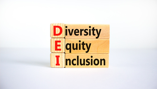 DEI, Diversity, equity, inclusion symbol. Wooden blocks with words DEI, diversity, equity, inclusion on beautiful white background. Business, DEI, diversity, equity, inclusion concept.