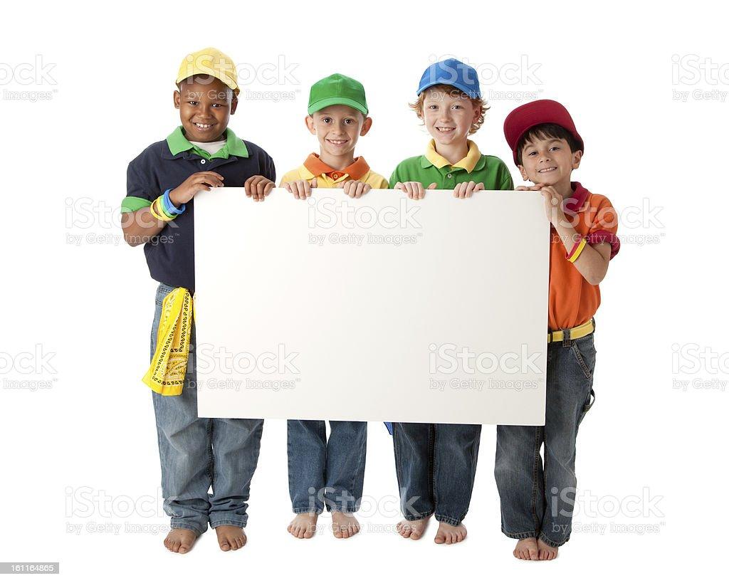 Diversity: Group Children Little Boys Blank White Sign royalty-free stock photo