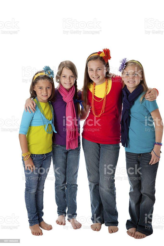 Diversity: Group Children Little Girls Friendship Full Length stock photo