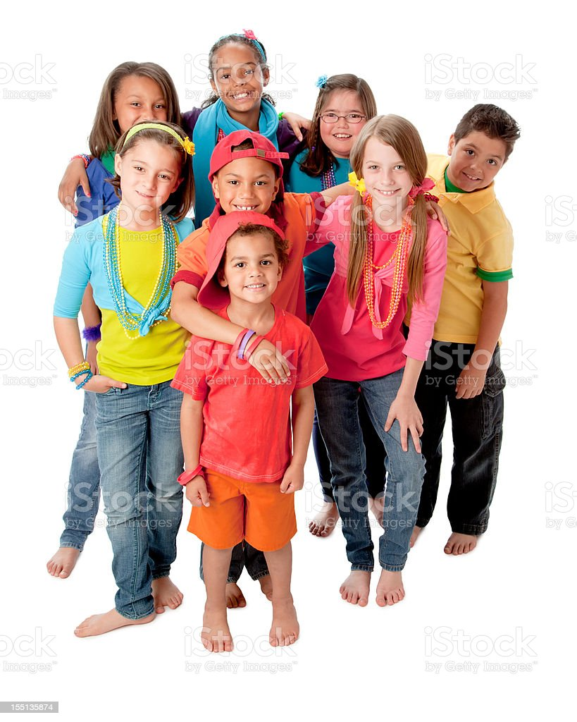 Diversity: Group of Children Standing Together Colorful Full Length stock photo