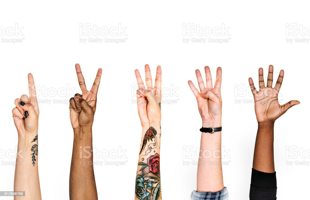 Diversity hands with numeric sign royalty-free stock photo