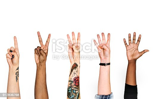 istock Diversity hands with numeric sign 912836768