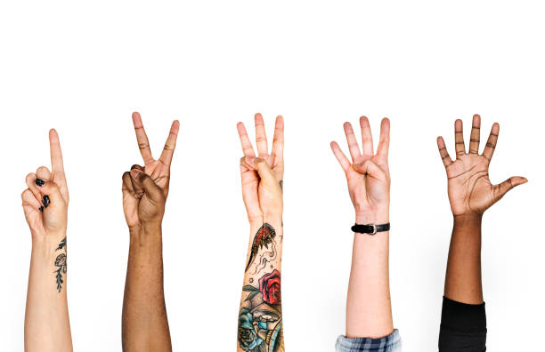 Diversity hands with numeric sign stock photo