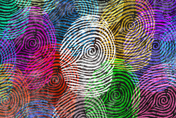 Diversity Identity Diversity identity and privacy concept and personal private data symbol as diverse finger prints or fingerprint icons and census population in a 3D illustration style. identity theft stock pictures, royalty-free photos & images