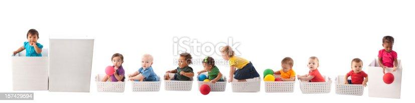 istock Diversity: Imaginary Train of Babies Precious Cargo 157429594