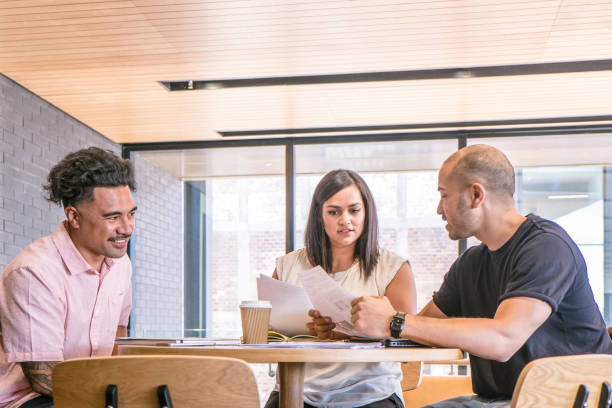 Diversity in the workplace - Samoan and Maori/mixed ethnicity employees reviewing documents in a business meeting stock photo