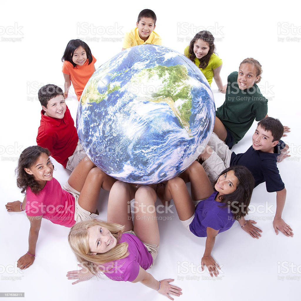 Diversity: Interracial Group of Preteens Support Earth Globe Mixed Ethnicity royalty-free stock photo