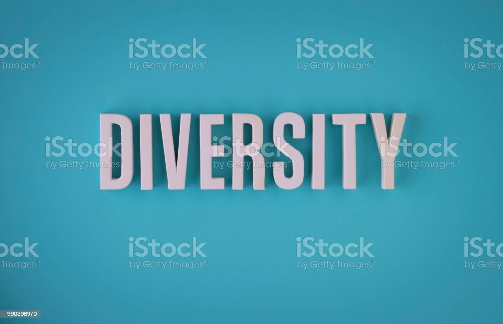 Diversity lettering sign stock photo