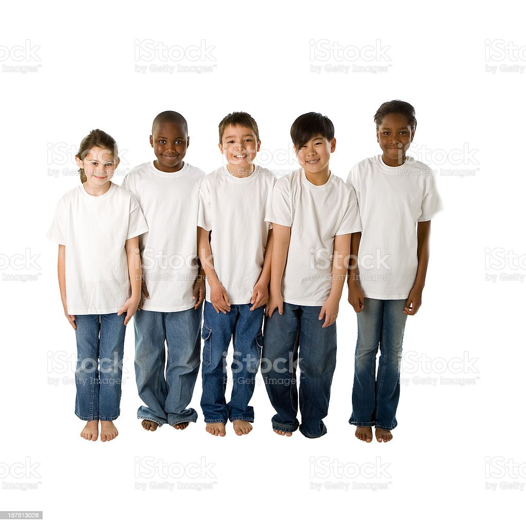 Diversity: Multi-Ethnic Group of Boys and Girls Stand Together stock photo