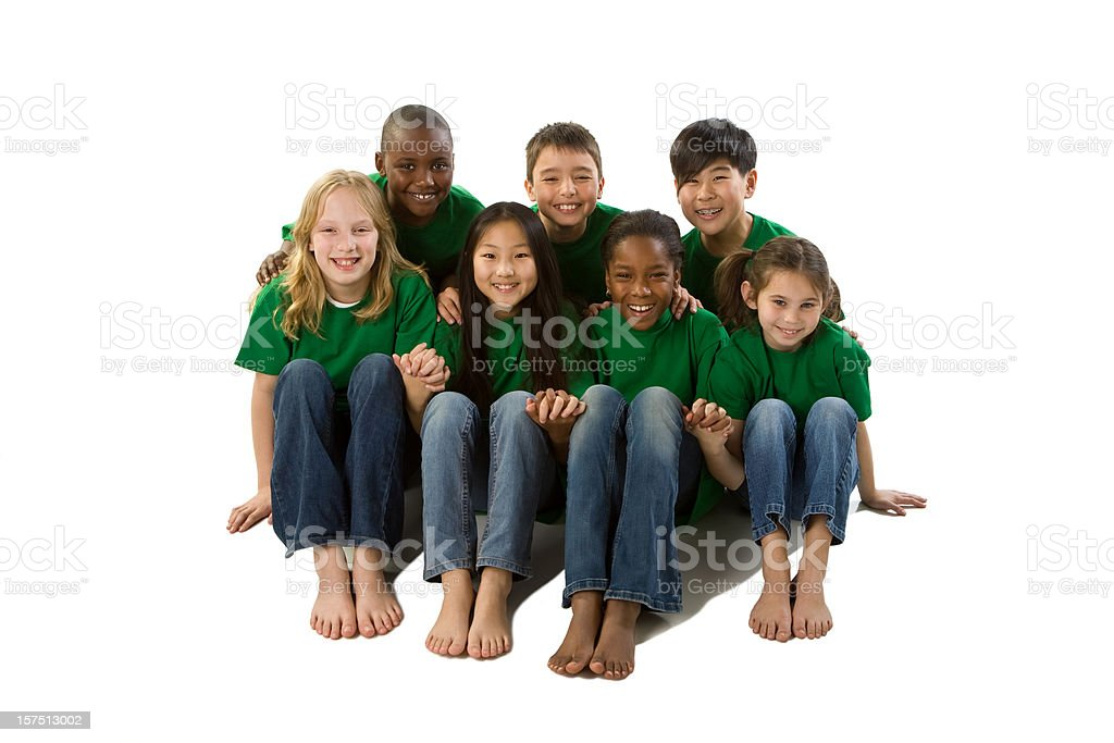 Diversity: Multi-Ethnic Group of Children Go Green Holding Hands Together royalty-free stock photo