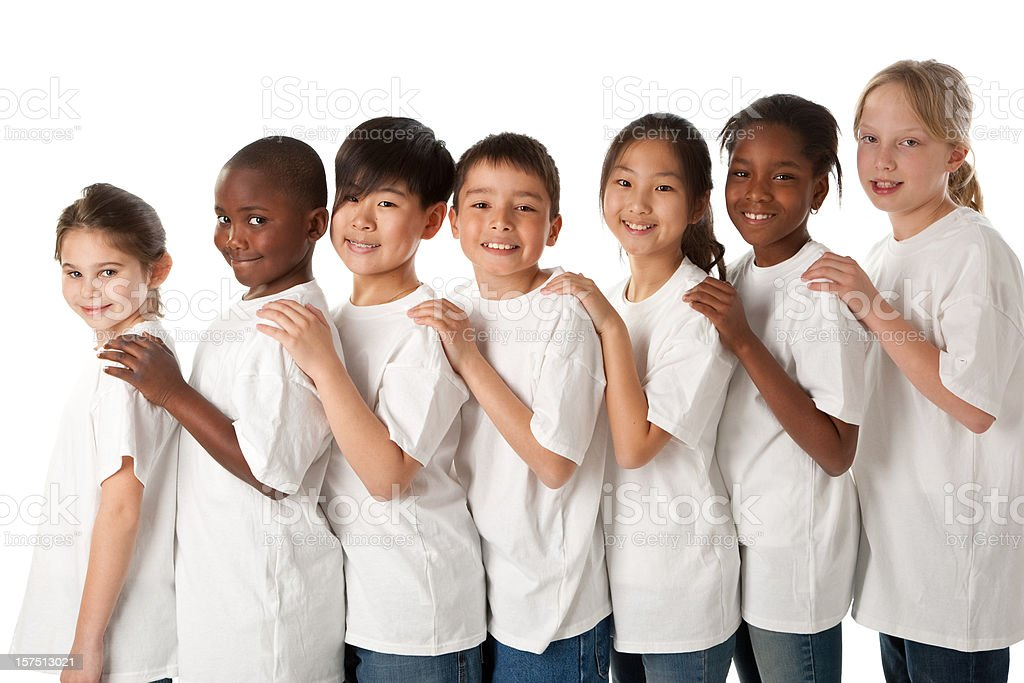 Diversity: Multi-Ethnic Group of Children Stand Together as a Team royalty-free stock photo